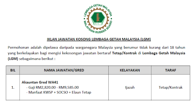 jawatan kosong 2020 lembaga getah malaysia