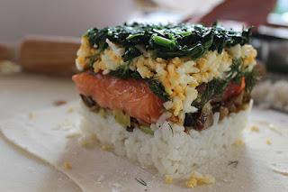 Relleno de welington de salmon y espinaca