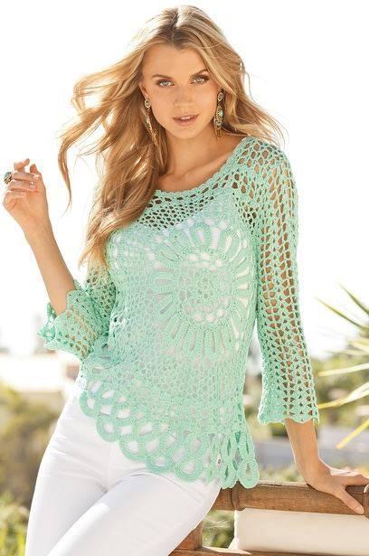Patrón #1316: Blusa a Crochet