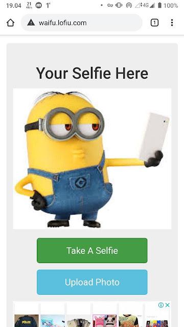 Tampilan situs Selfie 2 Waifu