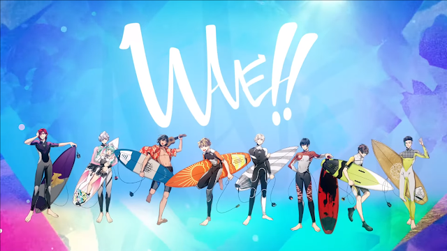 wave surfine anime visual cover picture eight guys with surf boards smiling in front of colorful background