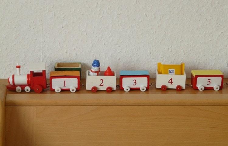 wooden train advent calendar