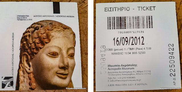 Ingresso para o Museu da Acrópole de Atenas