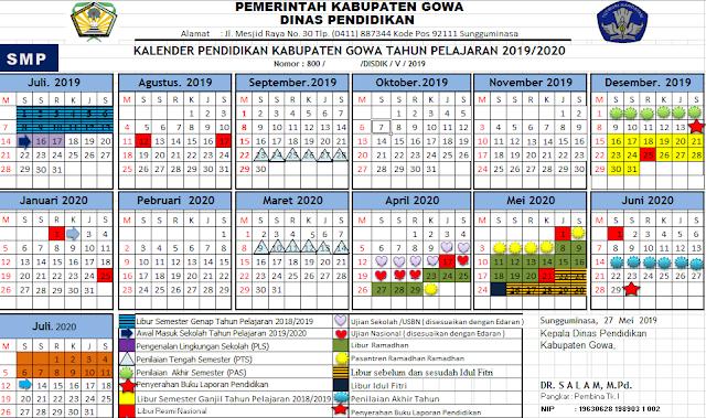 K13 : Kalender Pendidikan Kabupaten Gowa Tahun Pelajaran 2019-2020