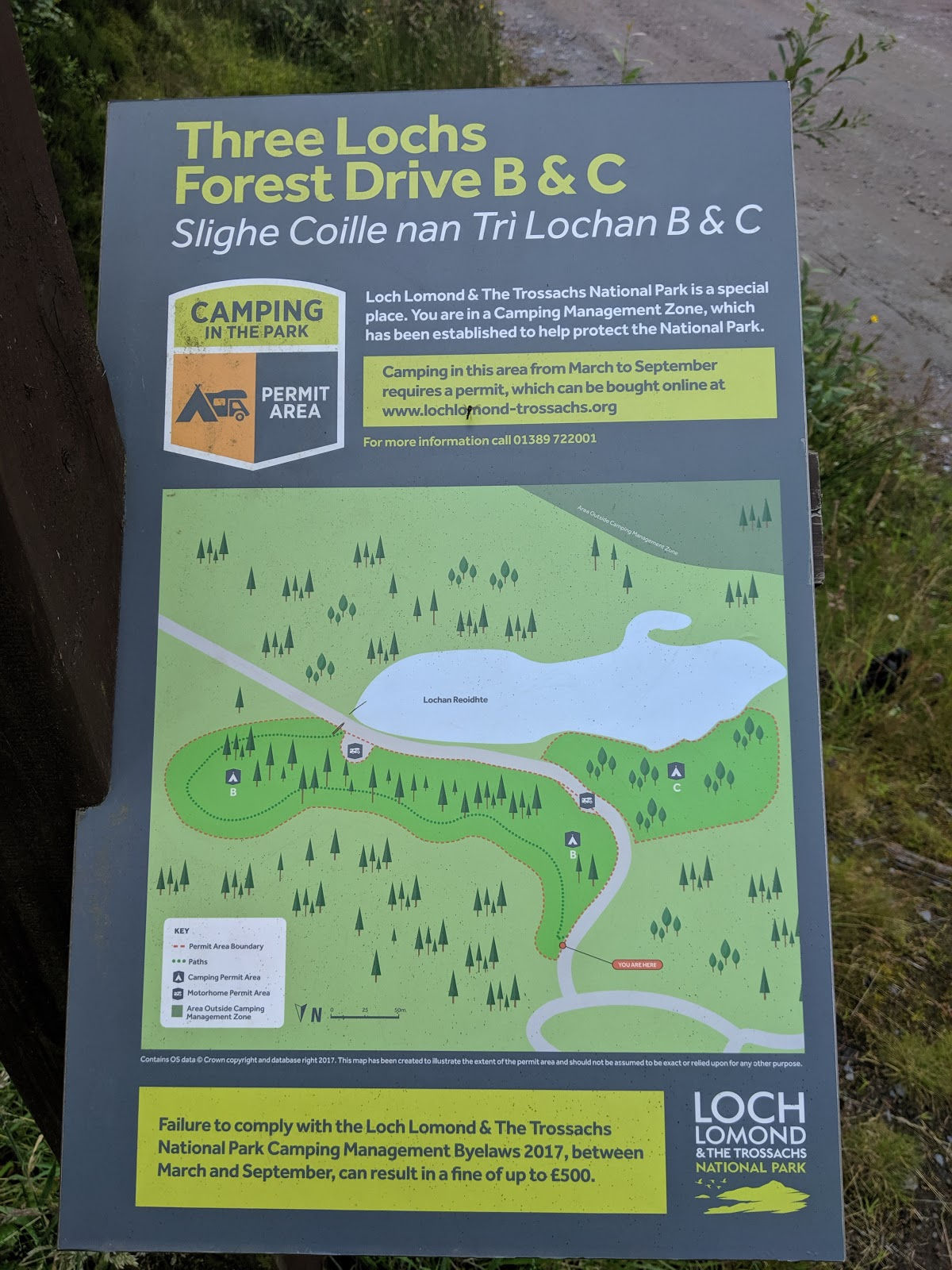 A Short Break at Cameron Lodges, Loch Lomond - Three Lochs Forest Drive info sign