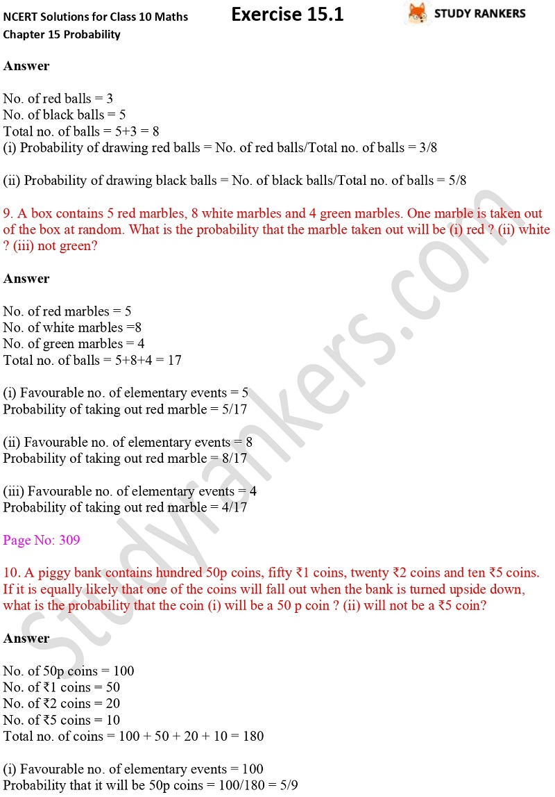 NCERT Solutions for Class 10 Maths Chapter 15 Probability Exercise 15.1 Part 3