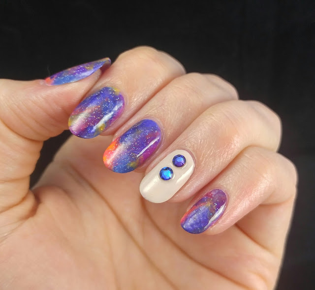 New Year's Galaxy Nails with Swarovski crystals 2017