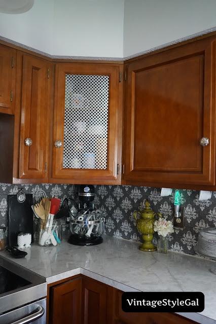 mercury glass knobs in kitchen