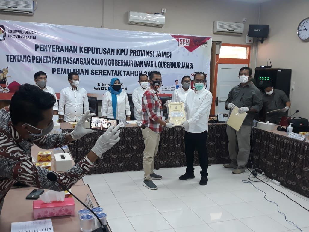 Penyerahan dan Penetapan Bakal Calon Gubernur dan Wakil Gubernur Jambi 2020 di Aula KPU