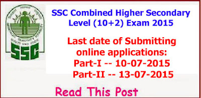 SSC Combined Higher Secondary Level (10+2) Exam 2015