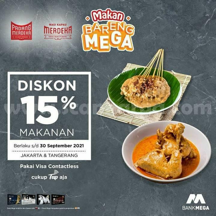 Promo Padang Merdeka & Nasi Kapau Merdeka Diskon 15% Bareng Bank Mega