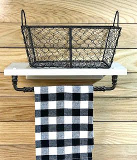 DIY Repurposed Cabinet door Basket shelf and towel bar