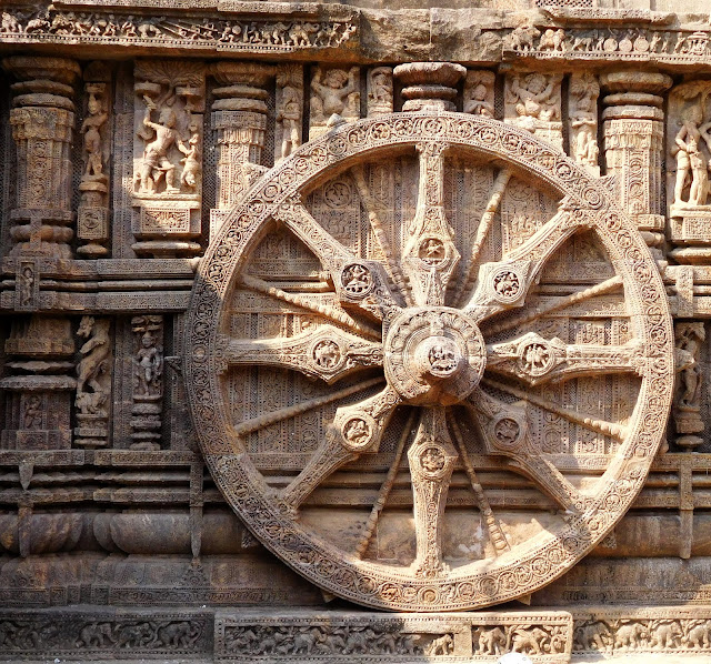 A wheel of the solar chariot at the Konark Sun Temple, Orissa.