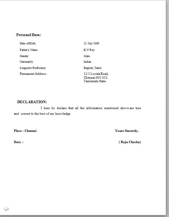 Resume Normal Biodata Format