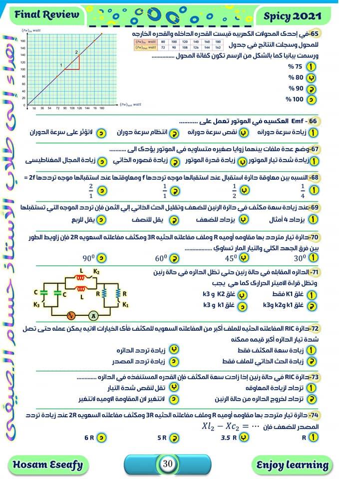 مراجعة ليلة الامتحان في الفيزياء.. 100سؤال بالاجابات  بابل شيت للصف الثالث الثانوي   9