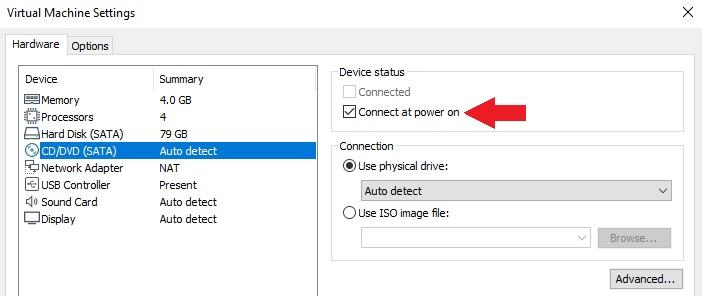 Disable Auto Coonect SATA on VMware