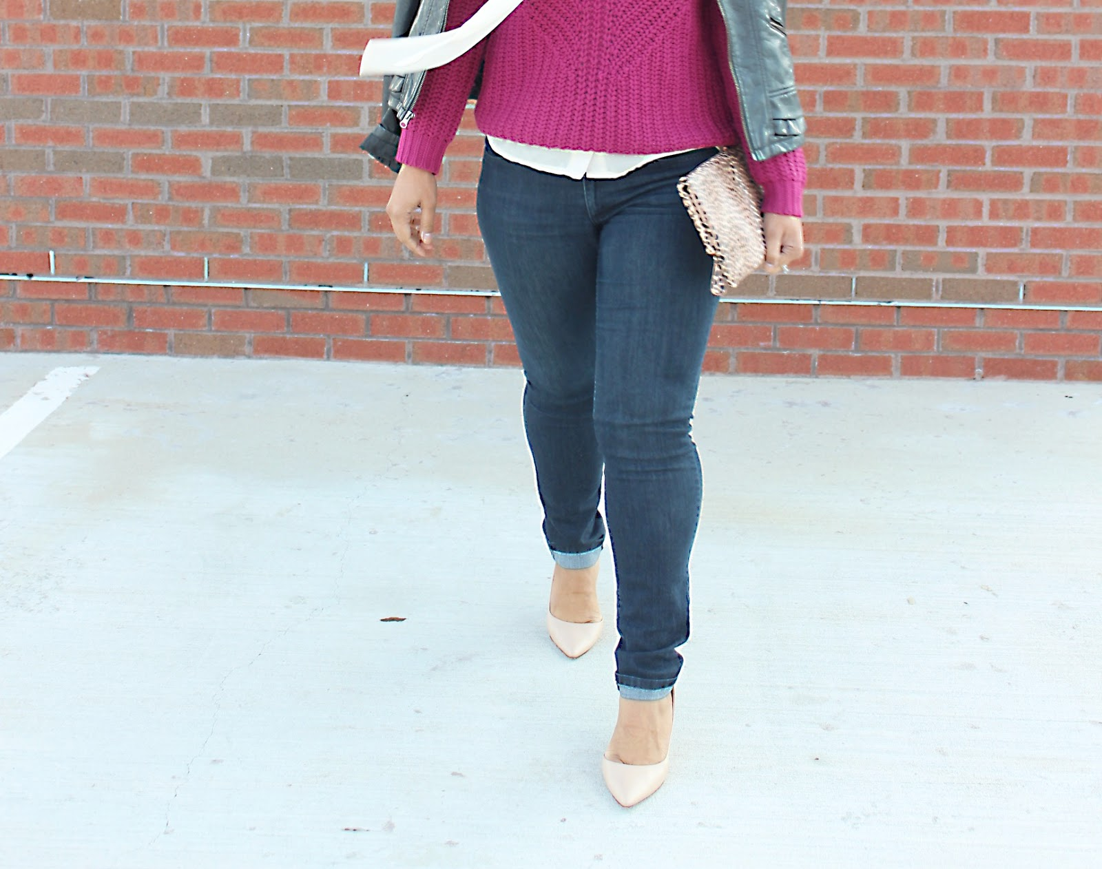 knit sweater, chic look, forever21, burgundy sweater, neck tie blouse