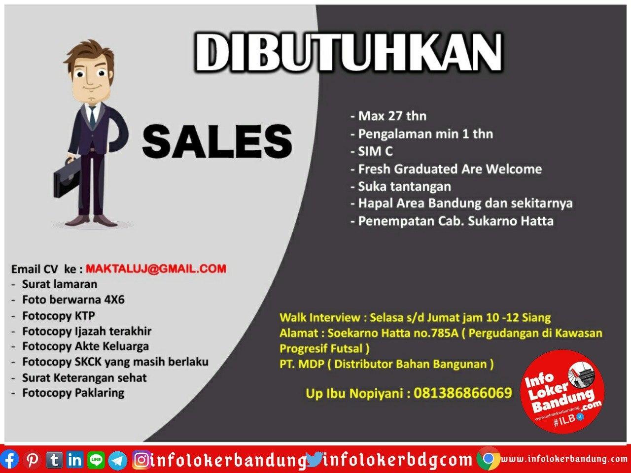 Lowongan Kerja Sales PT. Maktal Distribusi Pratama Bandung Juli 2020