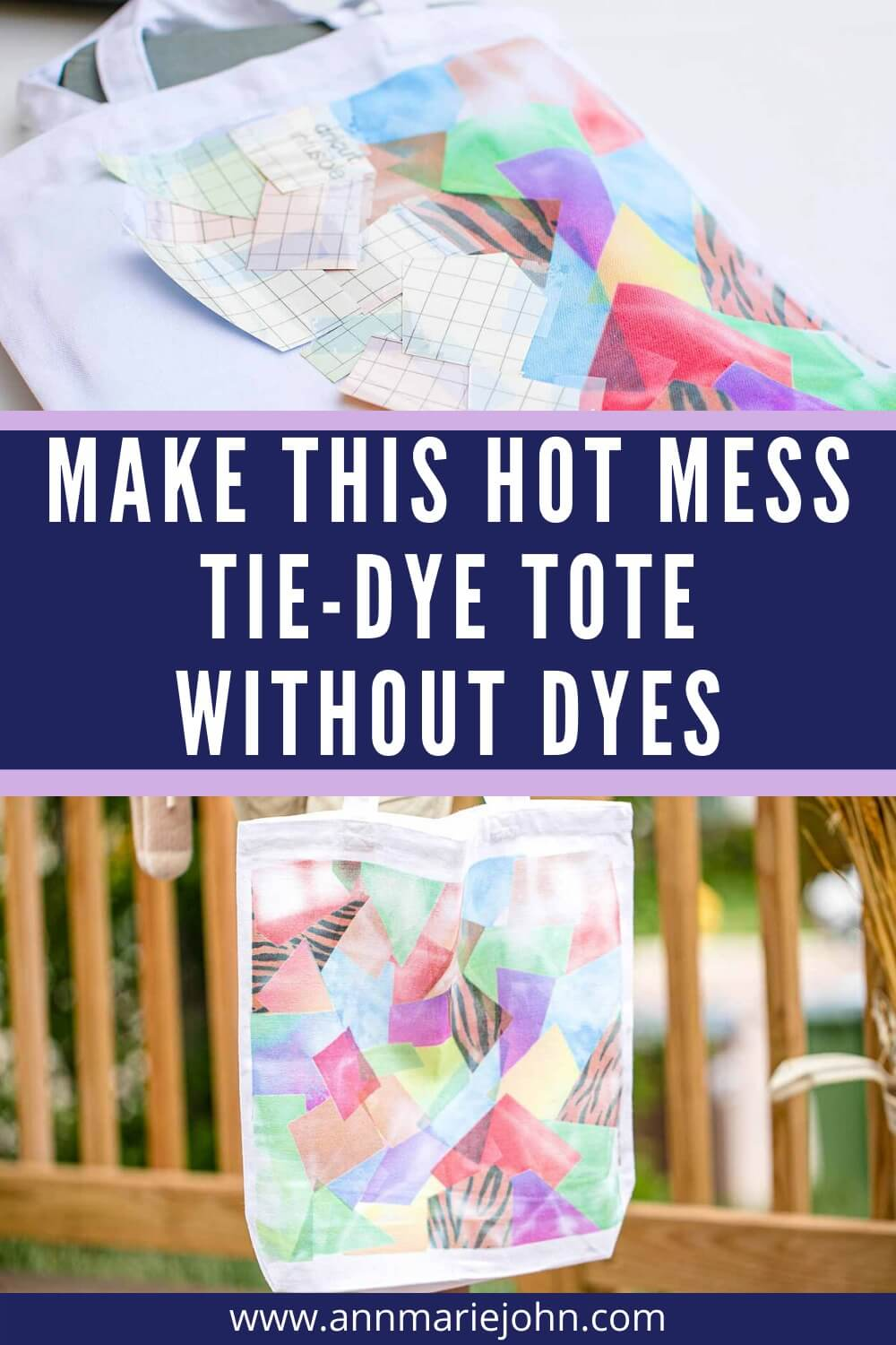 Make this hot mess tie-dye tote without dyes