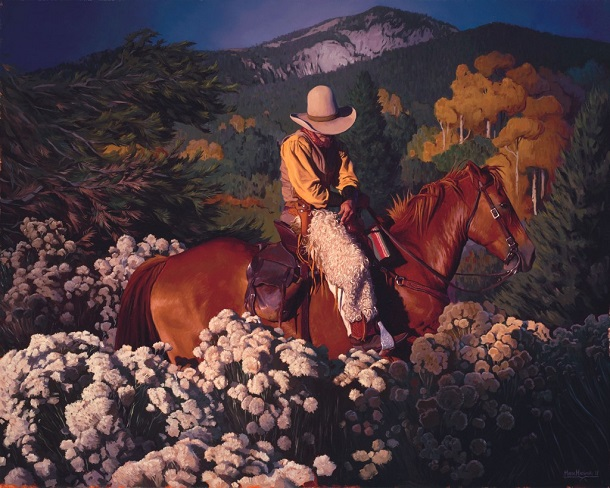 by Mark Maggiori, Magic hour in Taos - oil | pinturas, obras de arte, imagenes bellas de paisajes, american art.