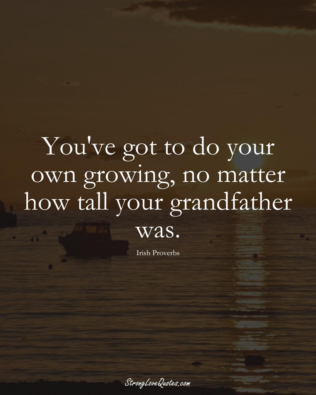 You've got to do your own growing, no matter how tall your grandfather was. (Irish Sayings);  #EuropeanSayings