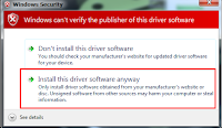 Takan menu Install This Driver Software Anyway