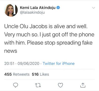 is olu jacobs dead,