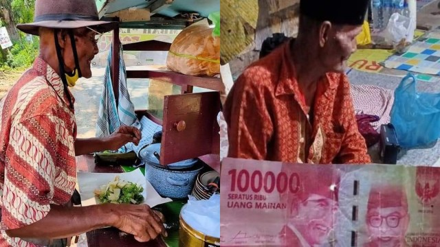 Kakek Penjual Gado-gado Dibayar Pakai Uang Mainan, Ngasih Kembalian Pula