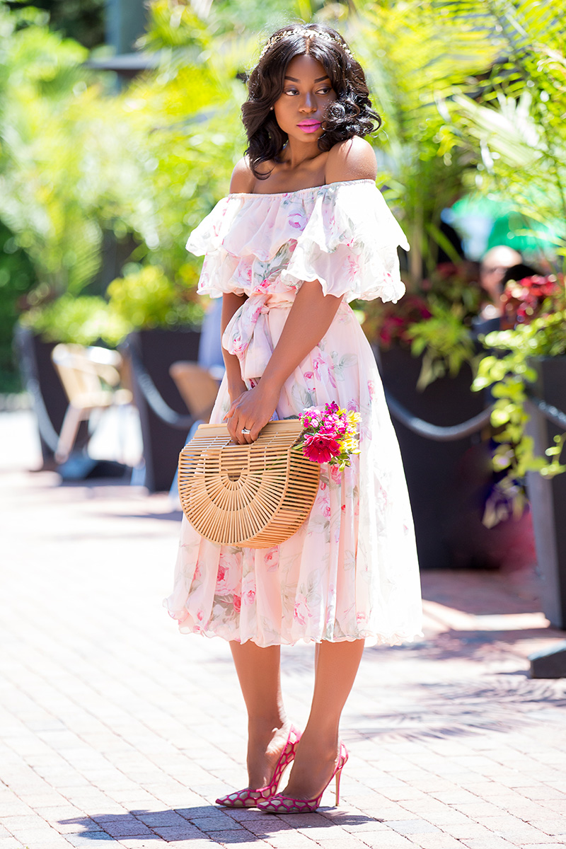 Asos Floral Bardot Off The Shoulder Midi dress, cult gaia bag, www.jadore-fashion.com