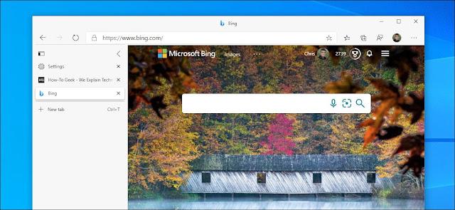 الشريط الجانبي لعلامة التبويب العمودية في Microsoft Edge