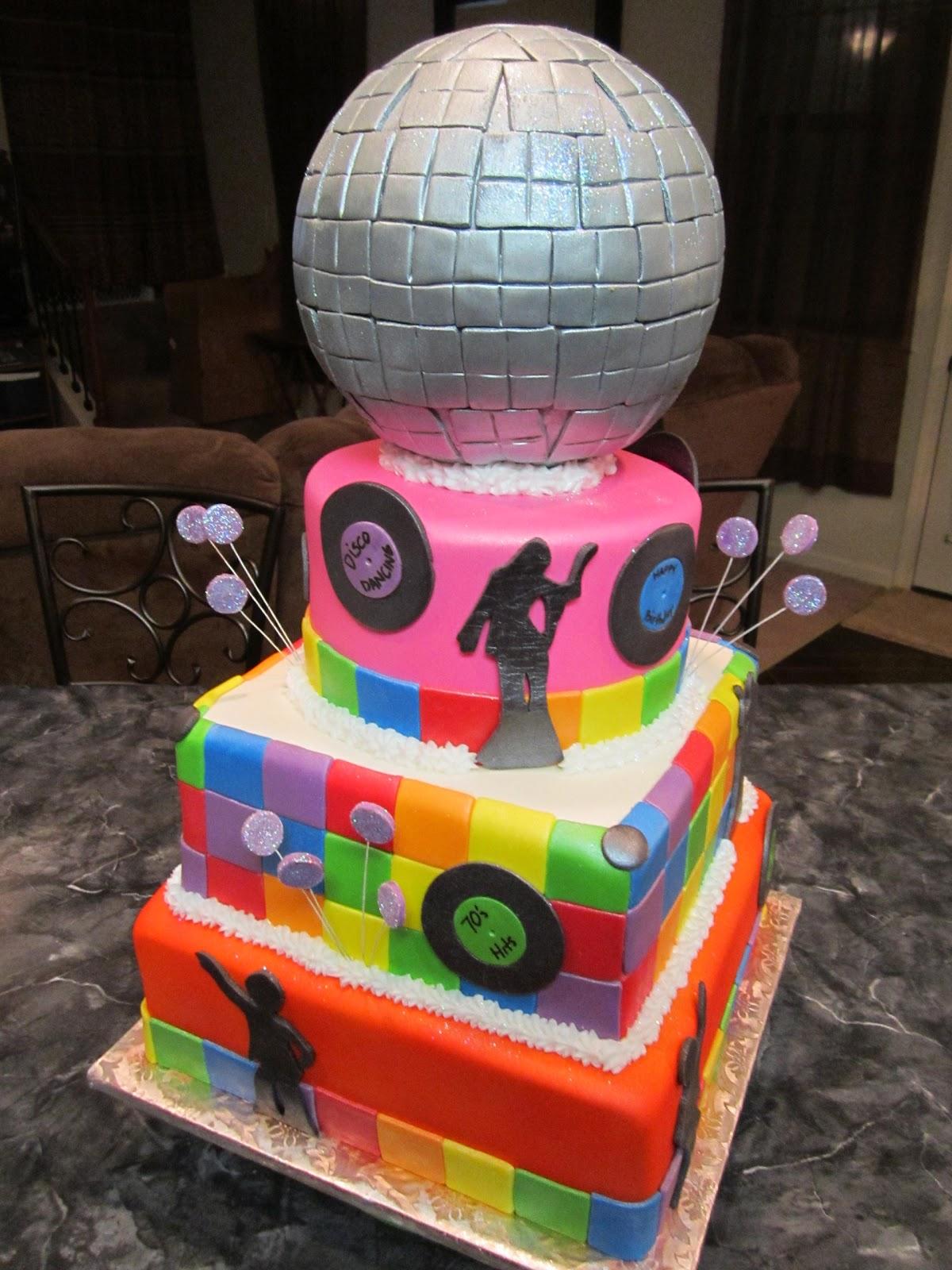 Mymonicakes 70 S Disco Ball Cake With Disco Dancer