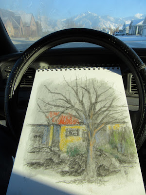 art sketch plein air car charcoal drawing pastel