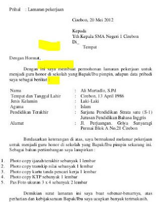 Contoh Surat Lamaran Kerja Guru Honorer Ke Dinas ...