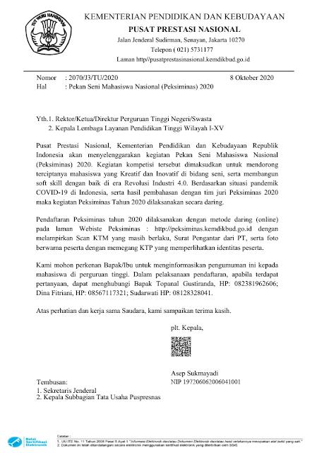 surat edaran pendaftaran pekan seni mahasiswa indonesia peksiminas tahun 2020 pdf tomatalikuang.com