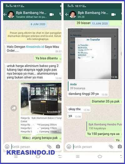 Gerobak Bakso Aluminium Atap Joglo Warna Coklat pesanan Bpk Bambang di Koja Jakarta Utara