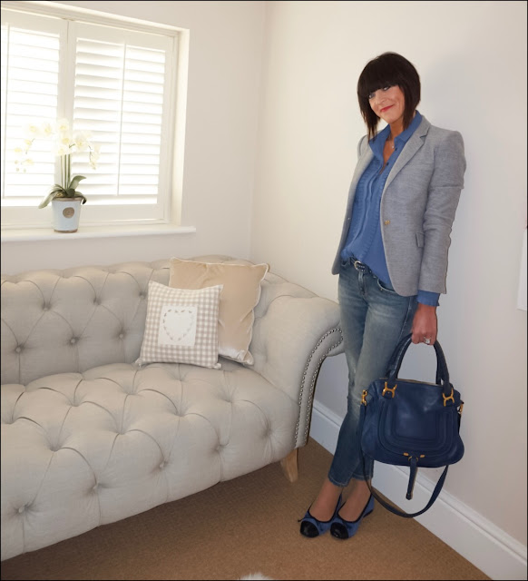 My Midlife Fashion, Chloe marcie saddle bag, the white company studded belt, zara grey flannel blazer, topshop pleat bib shirt