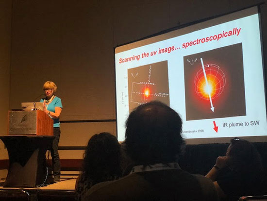 Andrea Dupree, CfA, compares images and spectra of stars at AAS 235 (Source: Palmia Observatory)