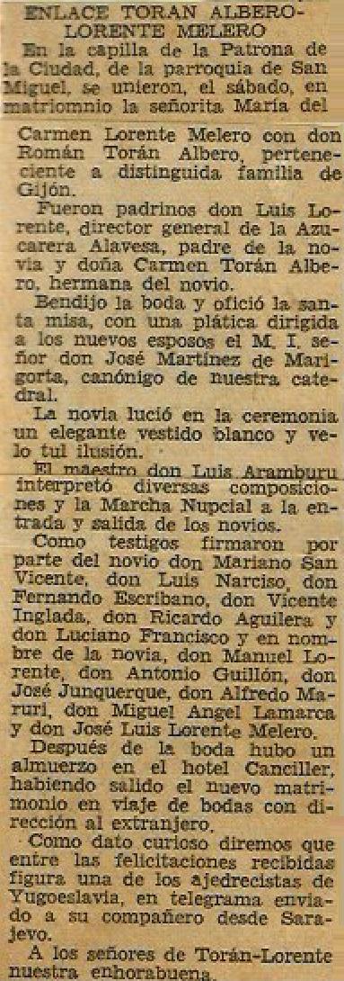 Nota de prensa sobre la boda de Román Torán