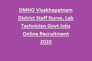DMHO Visakhapatnam District Staff Nurse, Lab Technician Govt Jobs Online Recruitment 2020