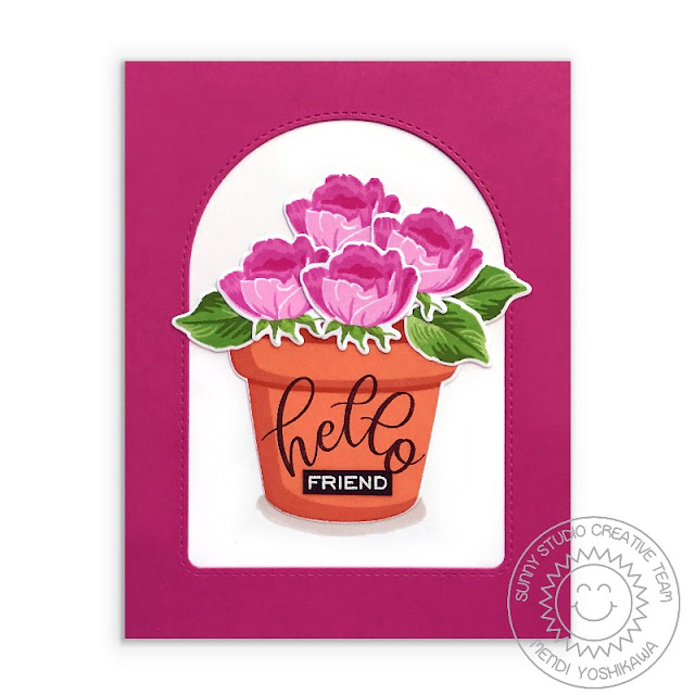 Sunny Studio Blog: Hello Friend Rosebuds in Terracotta Pot Card (using Potted Rose Stamps & Stitched Arch Dies)