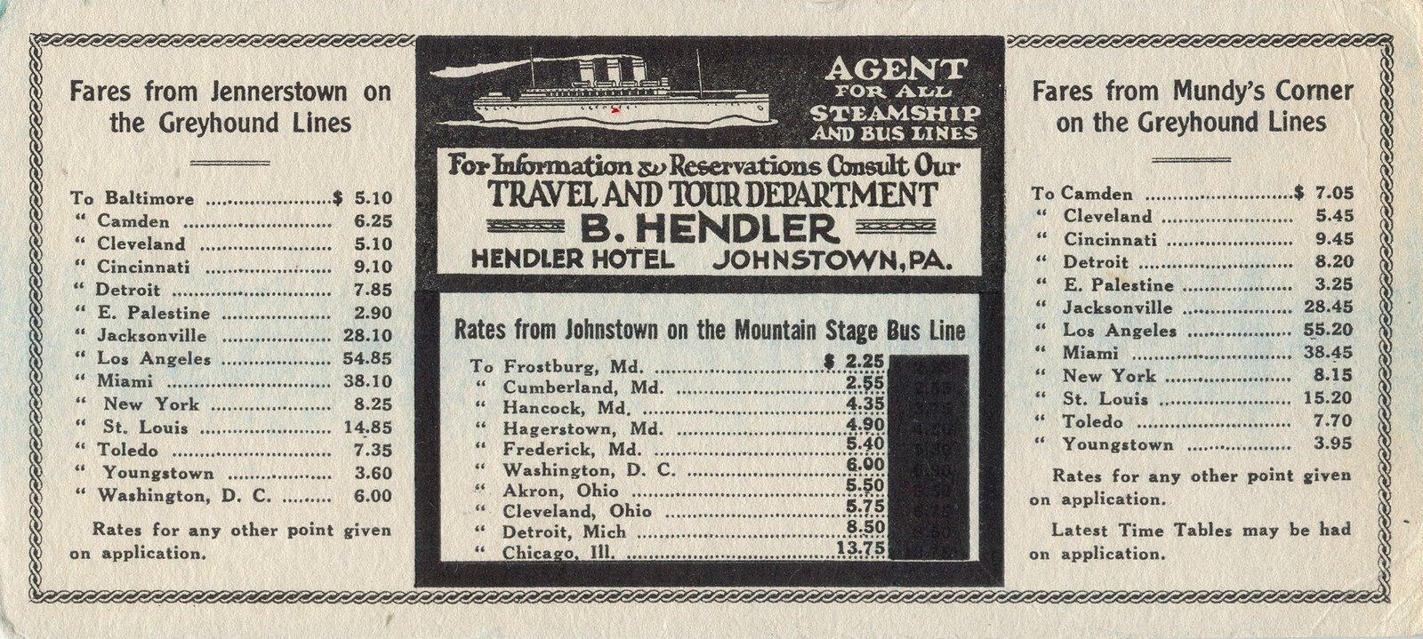 Vintage Johnstown Hendler Bus Ink Blotter