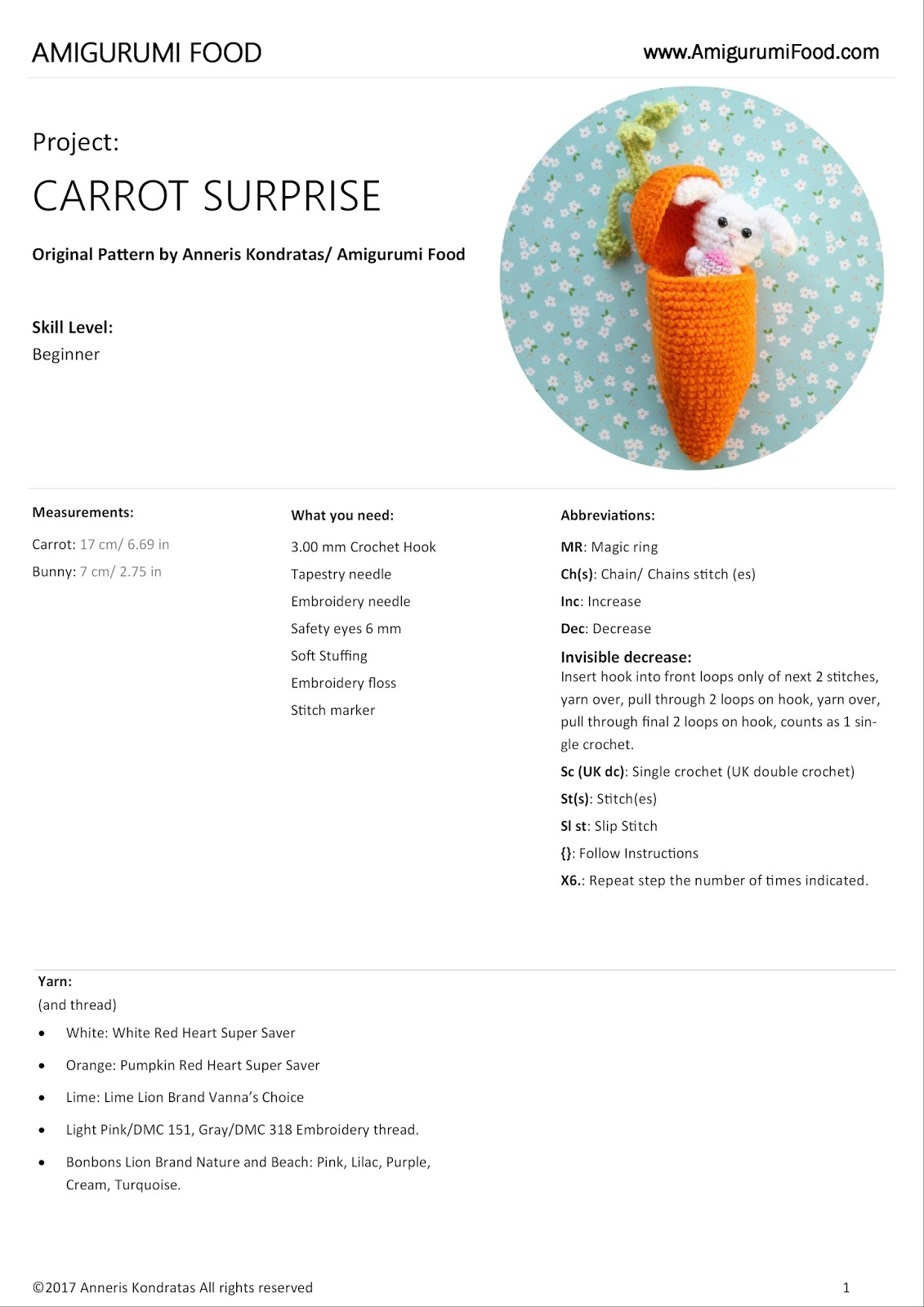 Carrot Surprise Easter Bunny Free Crochet Pattern