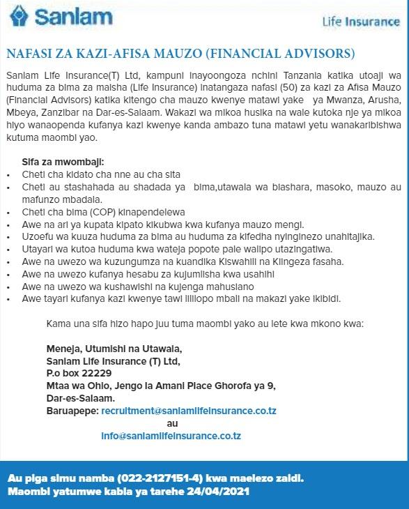 Financial Advisors at Sanlam Life Insurance April 2021