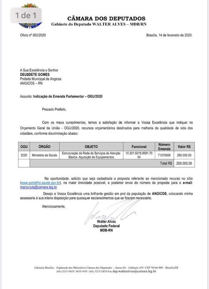 Walter Alves destina R$ 250 mil para Saúde de Angicos