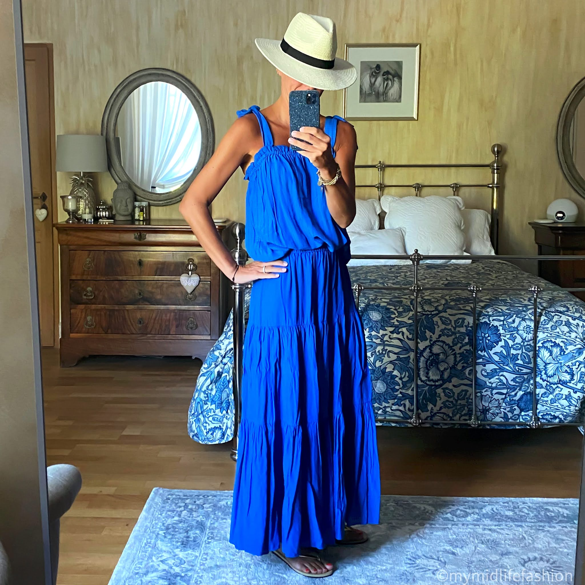 my midlife fashion, zara Panama hat, h and m shoulder tie camisole, h and m tiered maxi skirt, havanans slim fit gold flip flops
