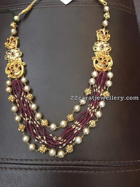 Small Ruby Beads Pearls Set
