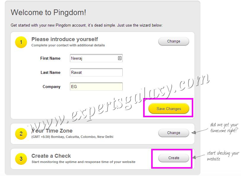 Pingdom Free Monitoring Account