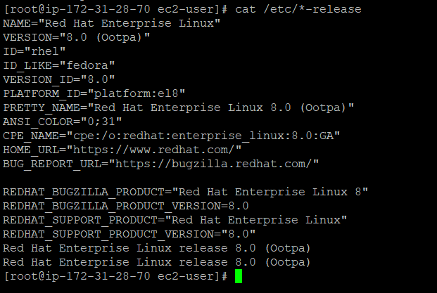 We can find the linux distribution with the command cat /etc/*-release