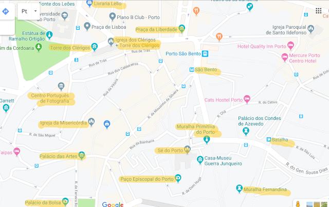 Mapas de hotéis no Porto