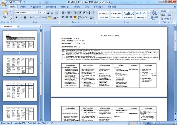 Silabus K 2103 Revisi 2019 Kelas VIII Semester 1 dan 2 Tahun Pelajaran 2019-2020 (Enam Kolom)